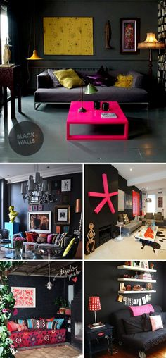 I like the general idea for our guest room!  Black walls & bright colors!