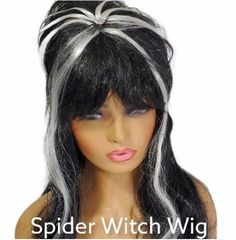 Rubies Spider Witch Wig Black White long Ladies halloween Accessory #RubiesCostumeCoInc