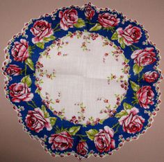 Blue round hankie with pink roses