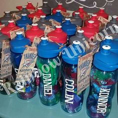 A customer ordered these water bottles from me and then added items to them to make a fabulous party favor for a basketball themed birthday party!