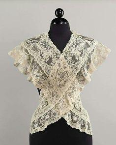 Late 19th century, Belgium Linen lace fichu MET Museum