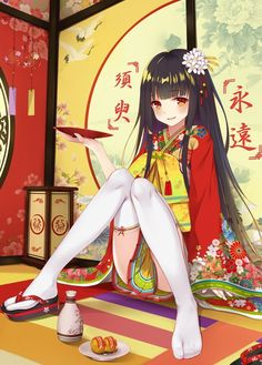 Anime picture 				1200x1674 with  		touhou 		houraisan kaguya 		flan (seeyouflan) 		long hair 		single 		tall image 		blush 		looking at viewer 		open mouth 		light erotic 		black hair 		smile 		fringe 		japanese clothes 		traditional clothes 		hair flower 		orange eyes 		wide sleeves 		blunt bangs 		floral print