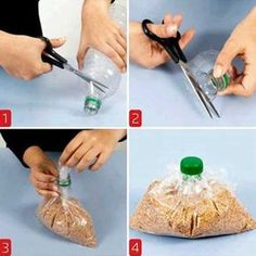 to Close the Bag Using a Plastic Bottle Cap Use an ordinary bottle top to close & pour from a plastic bag.Use an ordinary bottle top to close & pour from a plastic bag. Water Bottle Caps, Plastic Bottle Caps, Reuse Plastic Bottles, Bottle Top, Plastic Bags, Water Bottles, Plastic Bag Storage, Diy Bottle, Pop Bottles