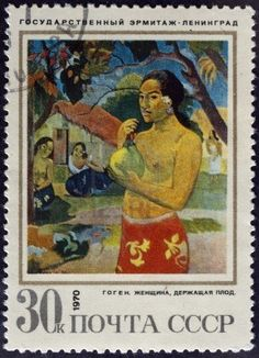 'Woman Holding a Fruit' - Paul Gauguin (paintings in Soviet Museums) Paul Gauguin, Rembrandt, Commemorative Stamps, Old Stamps, Postage Stamp Art, Impressionist Artists, Small Art, Stamp Collecting, Poster Prints