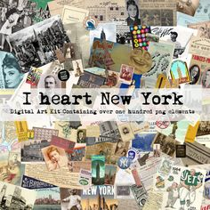New York City themed vintage ephemera kit. It has ticket stubs from the Subway, Tiffany's ads, cabinet card photos, Yankees pennants, postcards and more.
