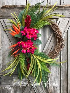 Tropical Wreath, Summer Wreath, Floral Wreath, Beach Wreath, Nautical Wreath - Click the link to see the newly released collections for amazing beach bikinis! Diy Wreath, Grapevine Wreath, Nautical Wreath, Anchor Wreath, Tropical Home Decor, Tropical Christmas Decorations, Tropical Flowers, Summer Wreath, How To Make Wreaths