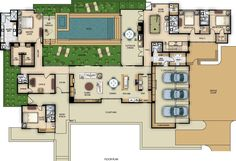 Architectural House Plans, Architectural Elements, Best House Plans, House Floor Plans, Villa Plan, My Ideal Home, Courtyard House, House Blueprints, Build Your Dream Home