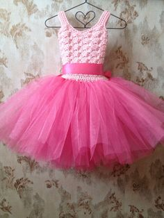 Pink flower girl tutu dress...crochet tutu by Qt2t on Etsy, $69.99