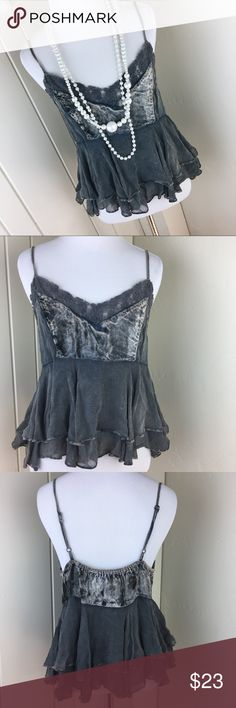 Abercrombie & Fitch charcoal gray and velvet tank Brand new without tags. Size large. Adjustable straps! Ruffles, velvet, lace and more! Absolutely amazing!!! Abercrombie & Fitch charcoal gray and velvet tank. Abercrombie & Fitch Tops Tank Tops