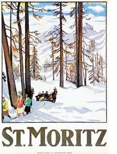St Moritz, - original vintage poster by Emile Cadinaux Vintage Ski Posters, Retro Poster, Illustrations Vintage, Vintage Artwork, Travel Ads, Travel Photos, Party Vintage, Winter Szenen, Winter Time