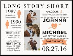 Long Story Short Save the Date Postcard