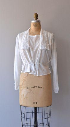 Edwardian blouse vintage 1910s blouse white cotton by DearGolden