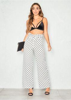 040460f2c7 Kiki White Polkadot Paperbag High Waist Trousers