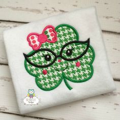 Girl Shamrock with Bow and Glasses St Patricks by GingerLyBoutique