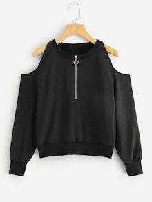 To find out about the Open-Shoulder Zip Front Sweatshirt at SHEIN, part of our latest Sweatshirts ready to shop online today! Indian Fashion Dresses, Girls Fashion Clothes, Teen Fashion Outfits, Mode Outfits, Girl Fashion, Girl Outfits, Fashion Fashion, Cute Comfy Outfits, Pretty Outfits