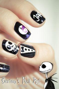 Tim Burton Nail art inspiration