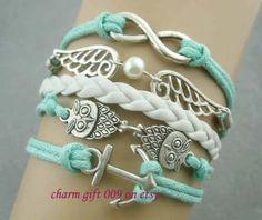 Infinity owl bracelet anchor braceletpearl by Charmgift009 on Etsy, $4.99/ @Shelby Hedge