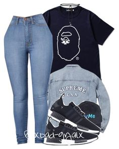 """Draft"" by xbad-gyalx ❤ liked on Polyvore featuring Mr. Bathing Ape, adidas and Aamaya by Priyanka"