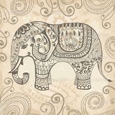 Stylized lacy elephant - Stock Illustration: 13896567