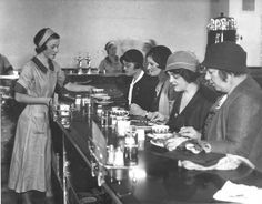 Lunch counter at Halle's. Cleveland, OH, 1932. Cleveland State University. Cleveland Memory.