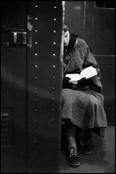 "wehadfacesthen: ""A reader on the New York subway, photo by Inge Morath, 1957 """