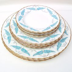 Vintage Royal Worcester China, Turquoise Kitchen, Porcelain Plates,... ($150) ❤ liked on Polyvore featuring home, kitchen & dining, dinnerware, turquoise dishes, vintage plates, porcelain dinnerware sets, gold rimmed plates and turquoise dinnerware