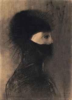 Odilon Redon - Armour (1891) [charcoal & crayon]