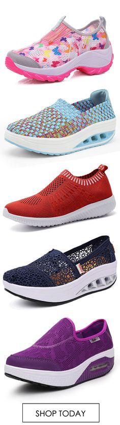 Mesh Platform Sole Rocker Breathable Casual Sports Shoes Running Shoe Outdoor Flats Slip On Sneakers.
