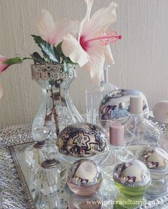 Perfume display tray.