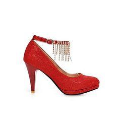 Womens Red Stiletto Glitter Style Heels