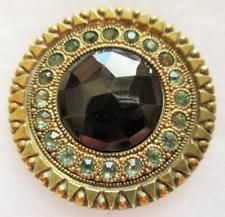 Spectacular X LARGE Antique GAY 90's Metal BUTTON w/ Black GLASS & Paste Border