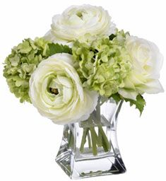 Small Green and White Arrangement.  Ranunculus and hydrangea.