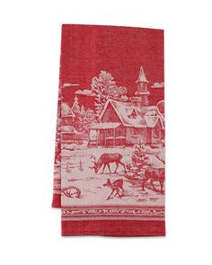 Winter Village Jacquard Towel-- heirloom-quality towels are woven and tailored by one of Russia's premier textile houses, where master weavers bring the charming scenic panorama to life on a jacquard loom. 2014
