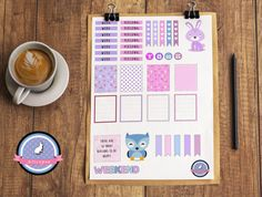 ❤ Pastel themed Printable Stickers for Erin Condren Vertical Life Planner. ❤  This purchase includes 1 JPG file. Includes;  ♥ 7 work headers ♥ 7