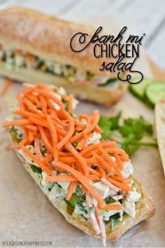Made this last night, so good! Jordan (age said it was the best ever! Banh Mi Chicken Salad Sandwiches - A Teaspoon of Happiness Banh Mi Sandwich, Salad Sandwich, Chicken Sandwich, Chicken Salad, Sammy, Pork Burgers, Pickled Carrots, Cold Sandwiches, Deli Food