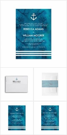 Blue Nautical Watercolor Wedding A trendy, nautical design for your wedding invitations - a blue, watercolor background with white stripes and an anchor.