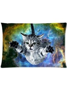 Sofa Pillowcase Space Cat Theme Funny Soft Custom Rectangle 2030 Inches Two