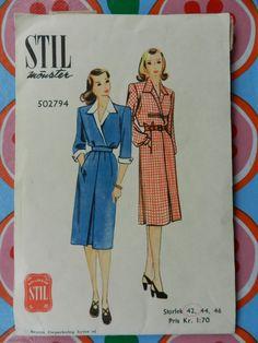 Stil 502794. Pattern for dress, 1947. Dress Patterns, Sewing Patterns, Retro, Vintage, Dresses, Vestidos, Dress Making Patterns, Vintage Comics, Dress