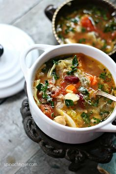 Spinach Soup Italian Soup with Sausage and Beans from Spinach Tiger Healthy Italian Recipes, Italian Sausage Recipes, Primal Blueprint Recipes, Turkey Soup, Turkey Broth, Spinach Soup, Nutritious Snacks, Italian Dishes, Italian Foods