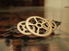 Steampunk Triple Gear and Filigree Hair Clip by punqd