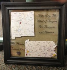Easy DIY Wedding Gift Map Printout Of The States Where Bride Groom Are From