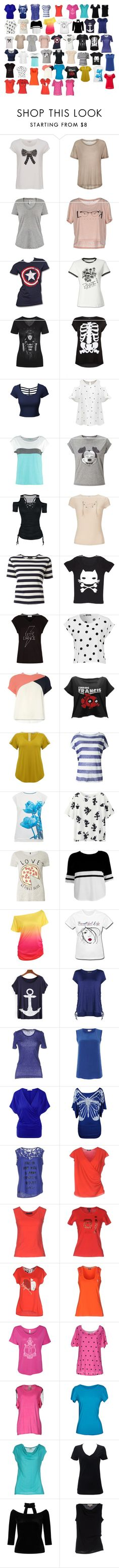 """""""T-SHIRTS 2"""" by raesong ❤ liked on Polyvore featuring French Connection, Samsøe & Samsøe, Champion, ONLY, Marvel, LE3NO, Chicnova Fashion, TWINTIP, Miss Selfridge and NLST"""
