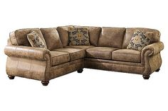 Ashley Larkinhurst 2 Piece Faux Leather Sectional in Earth Living Room Furniture, Home Furniture, Living Room Decor, Living Roon, Tuscan Furniture, Selling Furniture, Furniture Sets, Living Spaces, Queen Sofa Sleeper