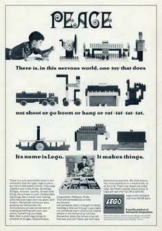 """""""It makes things.""""  Vintage LEGO advertisement, 1960s."""