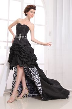 Amazing Strapless Ruched Top Bustled High Low Dress