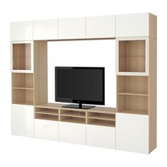 BESTÅ TV storage combination/glass doors - white stained oak effect/Selsviken high-gloss/white clear glass, drawer runner, soft-closing - IKEA
