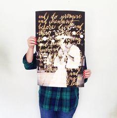 hand lettered vows over image // Jenn Gietzen of Write On! Design // #WriteOnDesign