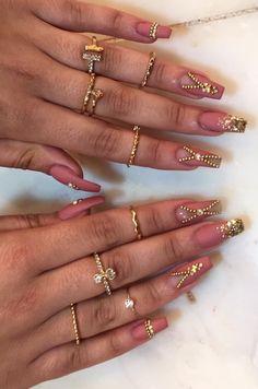 Coffin ballerina gold dust pink matte stones jewel gold glitter long negative space nails