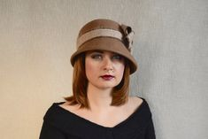 fed08768 Camel Brown Cloche Hat with Bow - 20s Cloche hat - Wool Felt Hat - Brown Hat