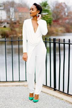 Holiday Wear: White Plunge Jumpsuit